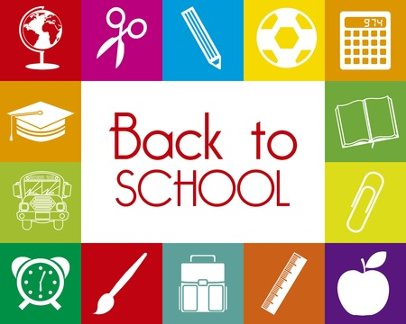 mochila escolar: Volver a la escuela sobre fondo de colores ilustraci�n vectorial