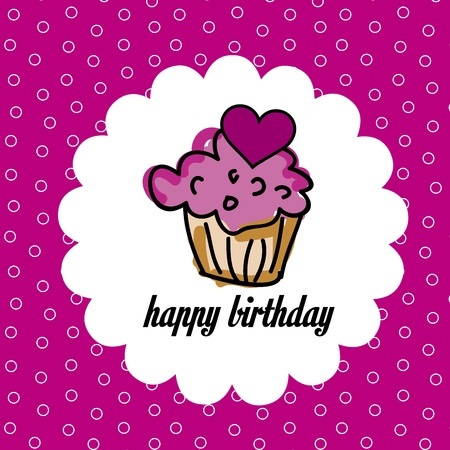 cup cake birthday over pink background vector , illustration  Vector