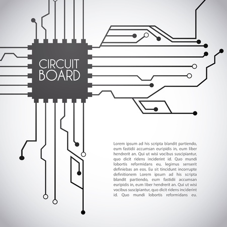 motherboard: circuit board design over gray background vector illustration