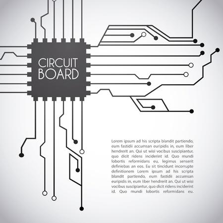 micro chip: circuit board design over gray background vector illustration