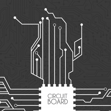 componentes electronicos: placa de circuito sobre fondo negro ilustraci�n vectorial Vectores