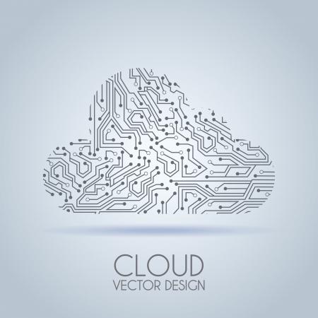 circuito nube sobre fondo gris ilustración vectorial Ilustración de vector