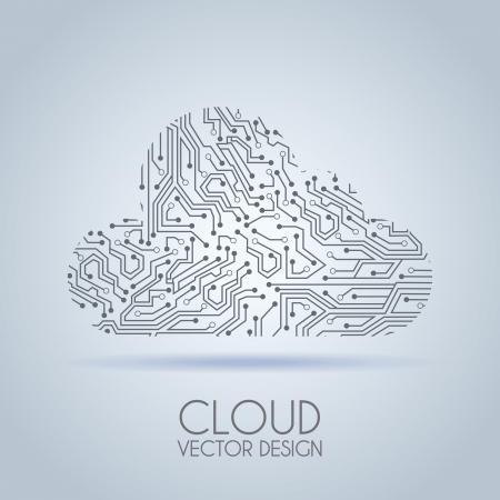 printed: cloud circuit over gray background vector illustration