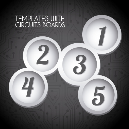 circular templates over circuit background vector illustration  Vector