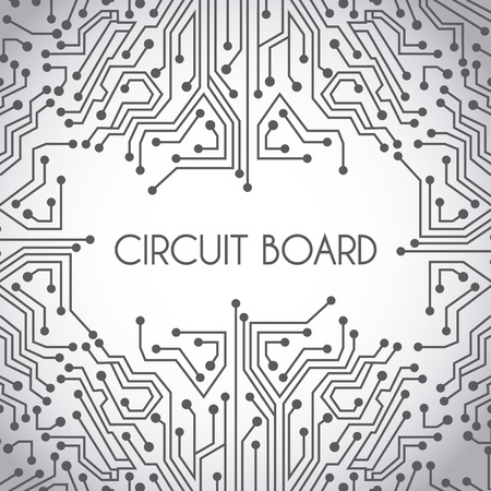 Circuit Board Design Over Gray Background Vector Illustration ...