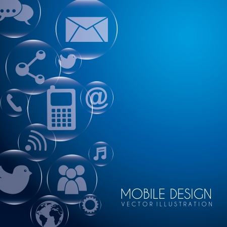 mobile design over blue background vector illustration  Stock Vector - 19980697