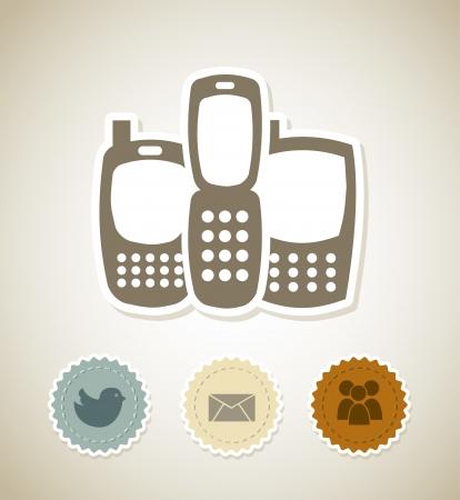 smartphones over beige  background vector illustartion Stock Vector - 19979622