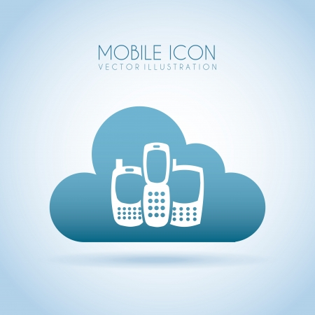 mobile icon over cloud   background vector illustration Stock Vector - 19979628