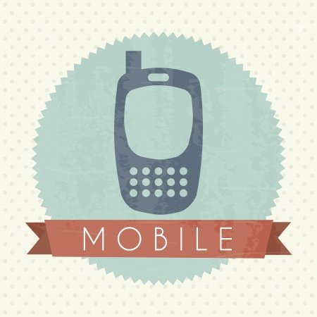 mobile icon over vintage background vector illustration Stock Vector - 19980710