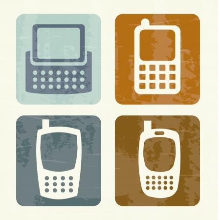mobile design over vintage background vector illustration Stock Vector - 19980705