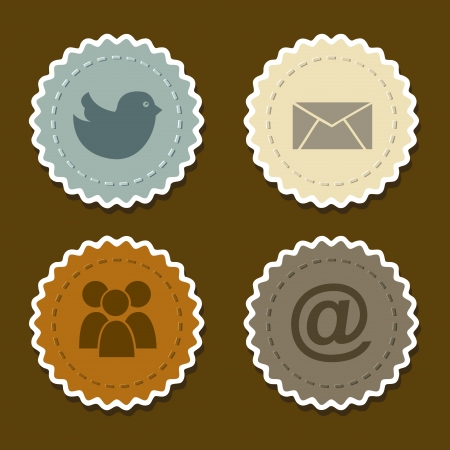 social networks icons over brown background vector illustration Stock Vector - 19979627