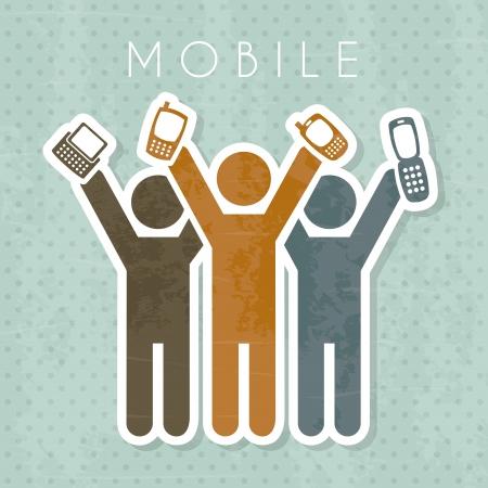 mobile design over dotted background vector illustration  Ilustração