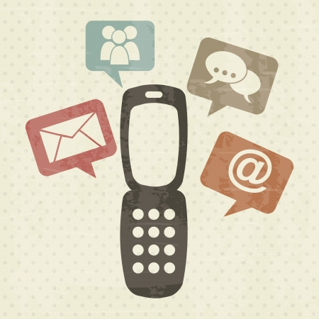 Cellphone with communication over vintage background vector illustration Stock Vector - 19980711