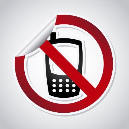 cell phones not allowed: sticker warning over gray background vector illustration