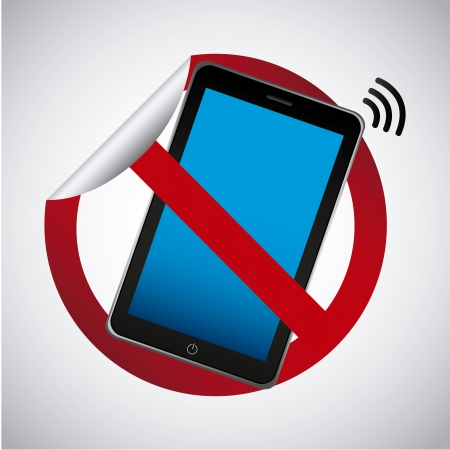 cell phones not allowed: smart phone sticker over gray background vector illustration