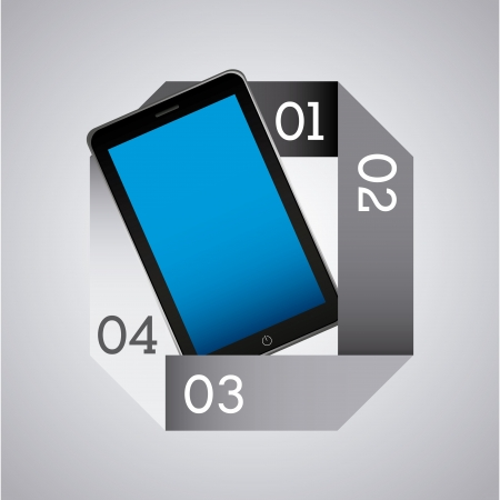 infographics smart phone over gray background vector illustration Stock Vector - 19979605