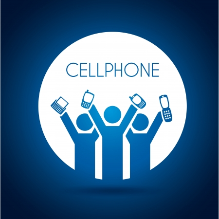 cellphone design over blue background vector illustration  Vector