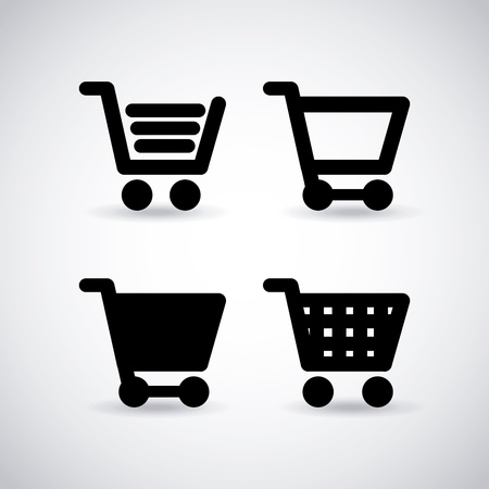 product cart: shopping cart over gray background vector illustration