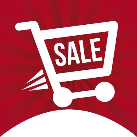 super market: shopping  cart  over red background vector illustration