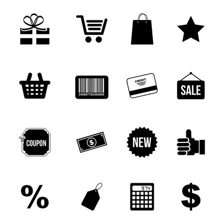 iconos de compras sobre fondo blanco ilustración vectorial