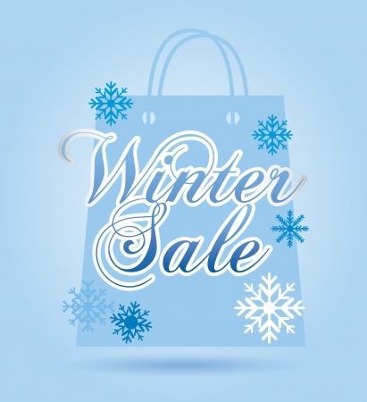 winter sale: winter sale over blue background vector illustration