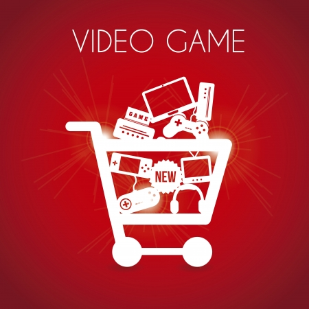 video game shopping over red background vector illustration  Vector