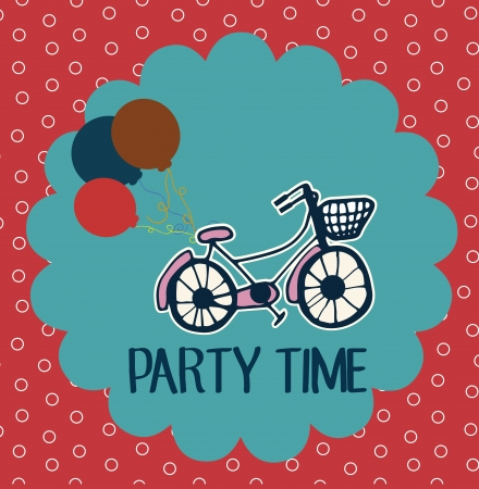 time over: party time over red background vector illustration