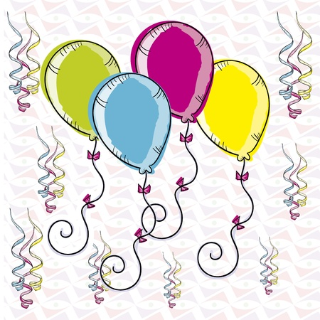 party balloon: ballons design over ribbons background vector illustration