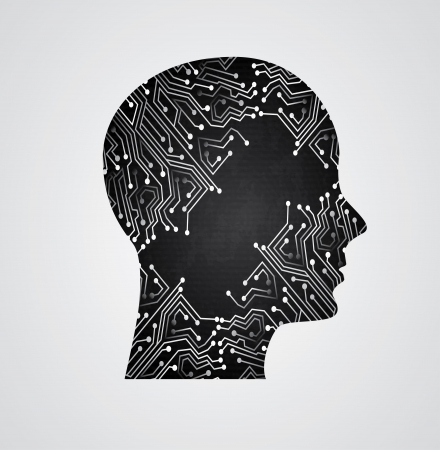 electronical: circuit face over gray background vector illustration  Illustration