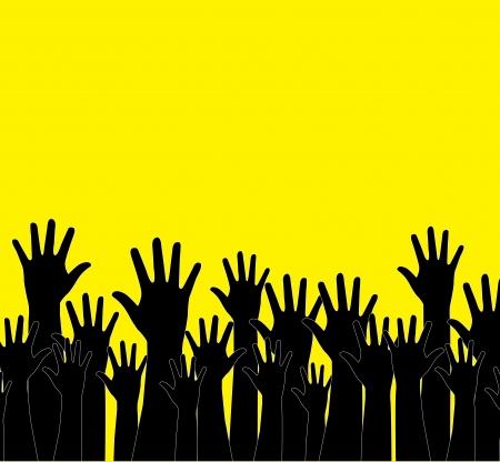 multitude: manos siluetas sobre fondo amarillo ilustraci�n vectorial