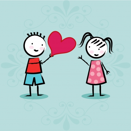 kids love over blue background vector illustration  Vector