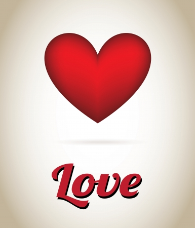 love red over beige background  Vector