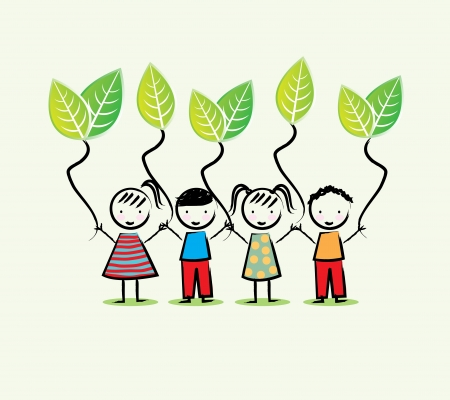 brotherhood: environmentalists children over white background vector illustration