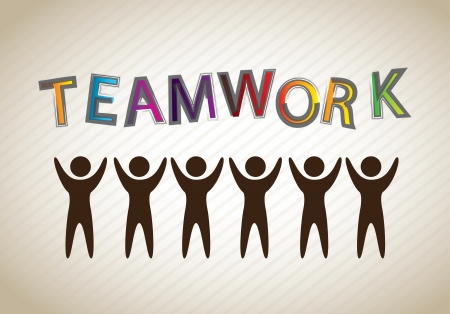 teamwork silhouette over gray backround vector illustration  Vector
