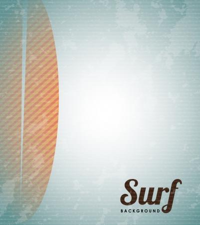 diseño de tabla de surf sobre fondo vintage