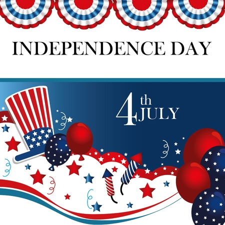 fourth july: fourth the july over flag background vector illustration