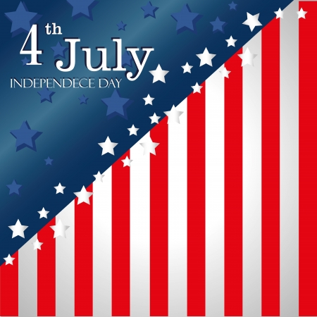 4th: fourth july over flag bacgrond vector illustration