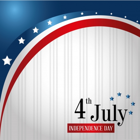 4th: fourth july over flag background vector illustration