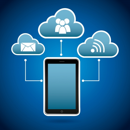smart phone   over blue light background vector illustration Stock Vector - 20040869