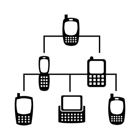 cuadro sinoptico: red de telefonía móvil sobre fondo blanco ilustración vectorial