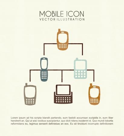 cuadro sinoptico: iconos móviles sobre fondo crema ilustración vectorial Vectores