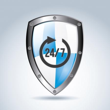 blue shield: 24-7 shield over gray background vector illustration