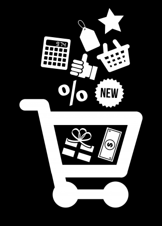 shopping icons over black  background vector illustration  Vector