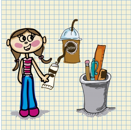 girl drawing a cup of coffee d vector illustration Vector
