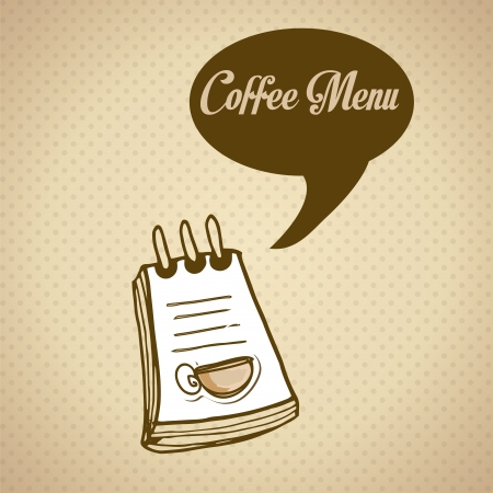 mocca: Coffee menu with coffee cup over brown background vector illustration