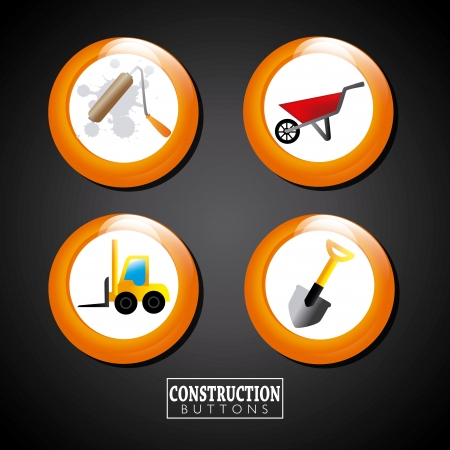 construction buttons over black background vector illustration  Vector