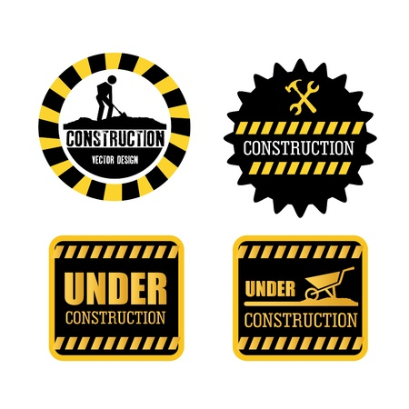 constructions seals over white background vector illustration  Vector