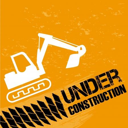 constrution: backhoe under constrution over orange background vector illustration