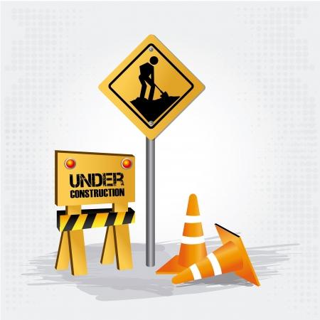 constrution: under construction design over gray background vector illustration