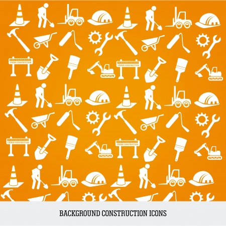 contractor: construction icons over orange background vector illustration  Illustration